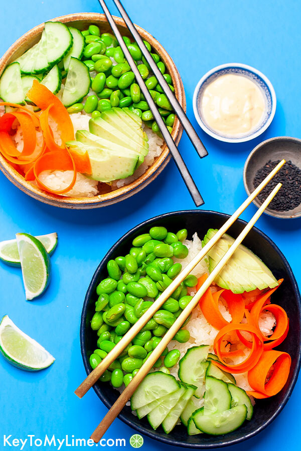 Two sushi bowls on a blue background.