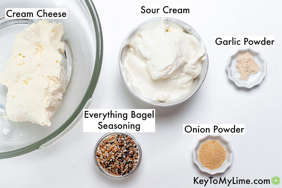 The labeled ingredients for everything bagel dip.