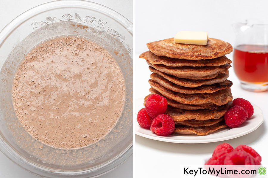 A process collage showing the pancake batter and a cooked stack of pancakes.