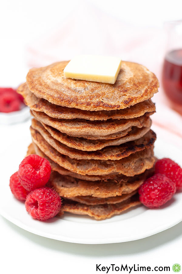 Close up of a stack of pancakes.