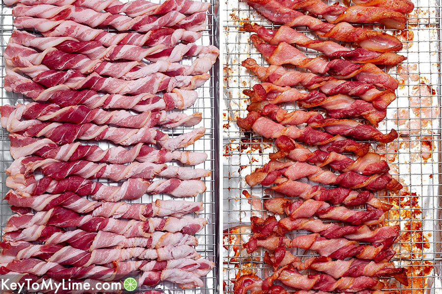 A process collage showing twisted bacon on a baking sheet before and after baking.