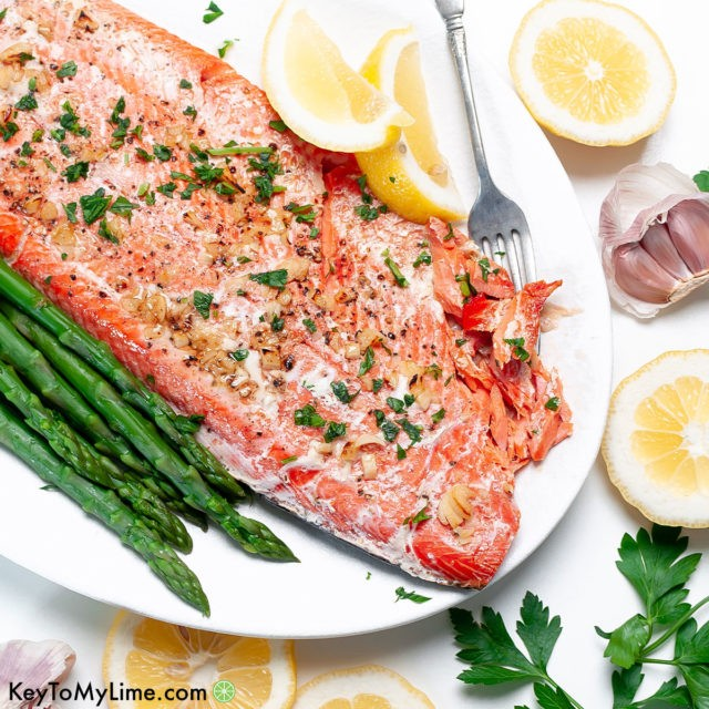 A filet of the best baked garlic butter salmon recipe.