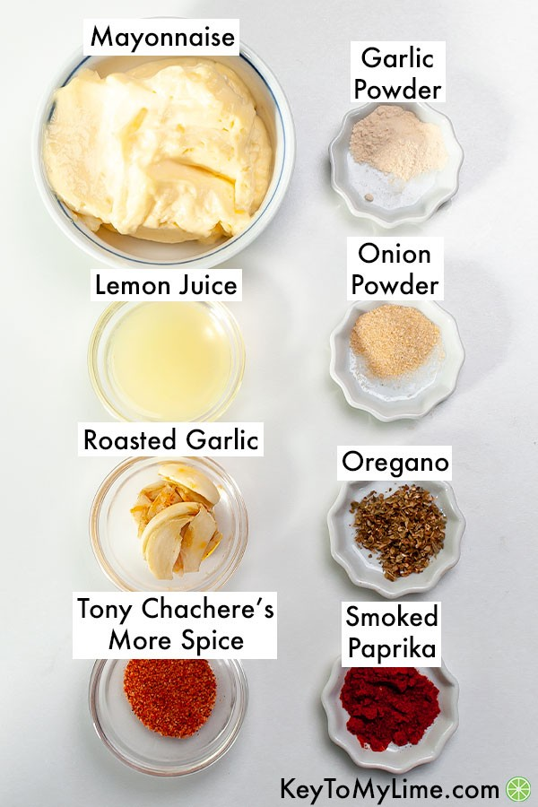 The ingredients for Cajun aioli labeled.