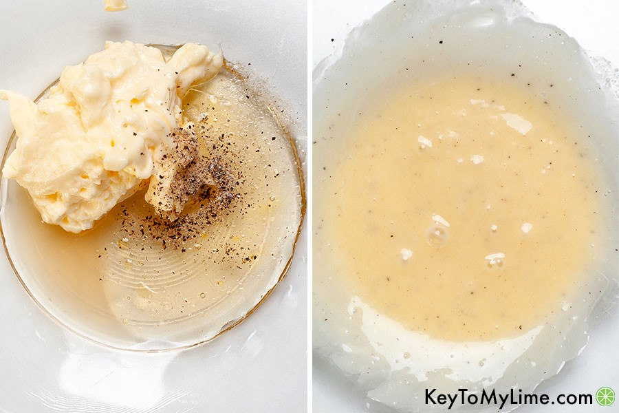 A process collage showing before and after mixing the honey mayonnaise dressing.
