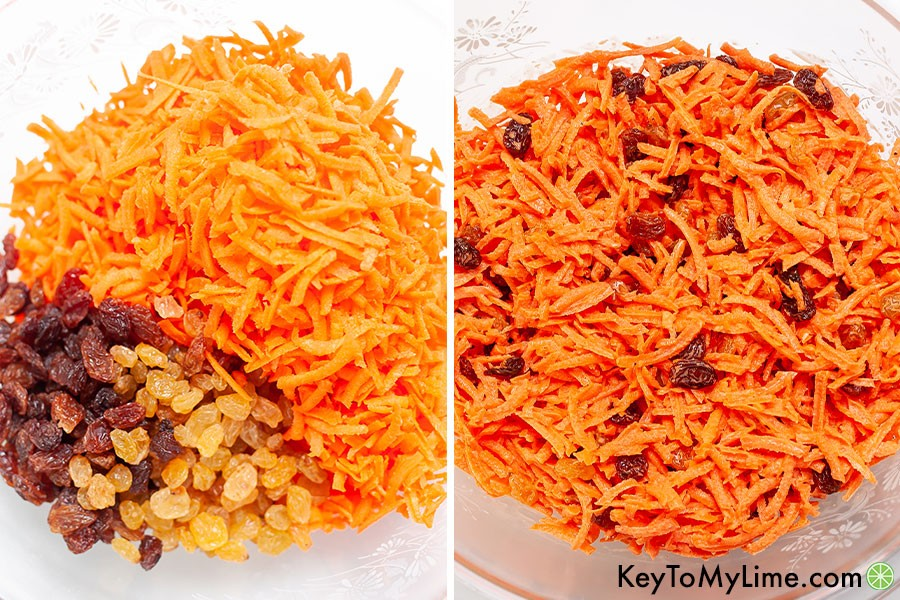 A process collage showing before and after mixing raising into the shredded carrots.