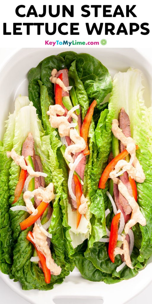 A Pinterest pin image with a picture of lettuce wraps and title text.