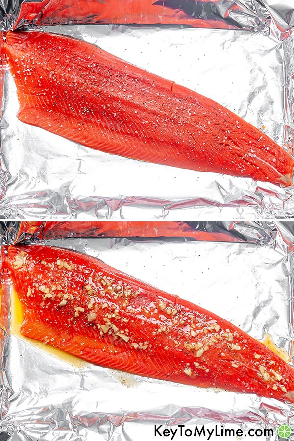 A process collage showing the raw salmon filet with salt and pepper, and then with the thick garlic butter sauce.