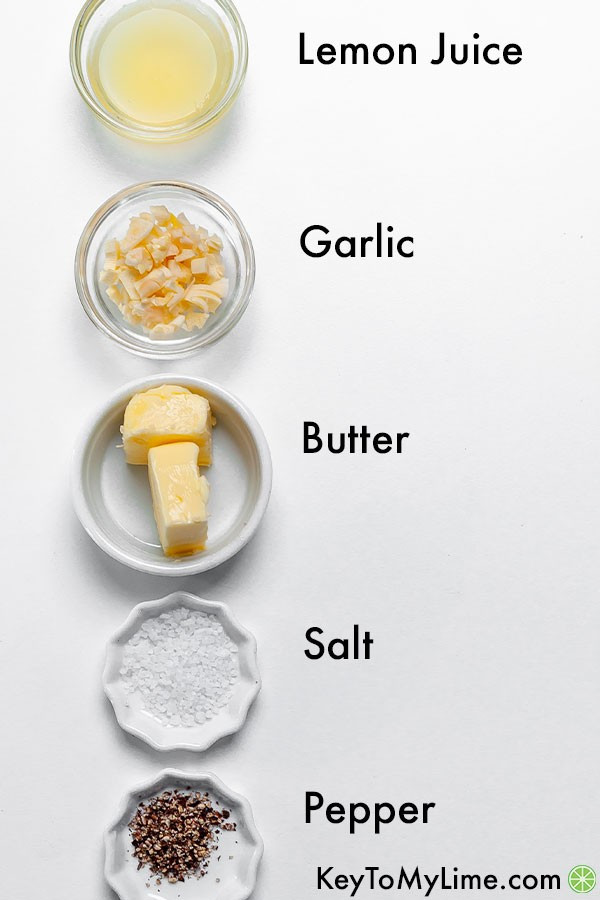 A labeled ingredient image of the garlic butter sauce ingredients.