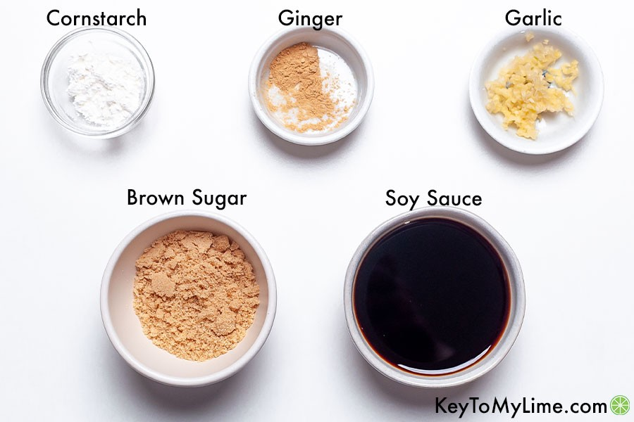 The labeled ingredients for easy homemade teriyaki sauce.