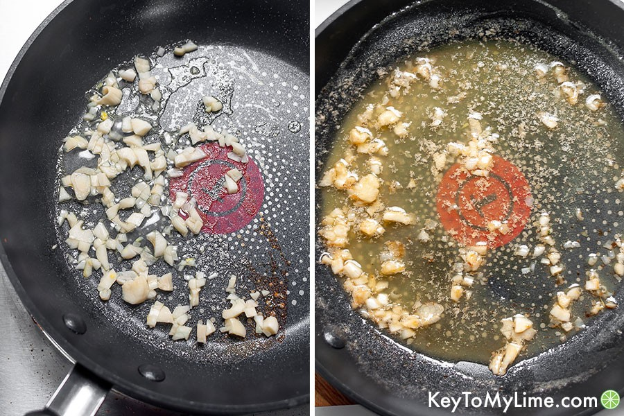 A process collage of the garlic butter sauce, showing the dehydrated lemon juice and the barely melted butter.