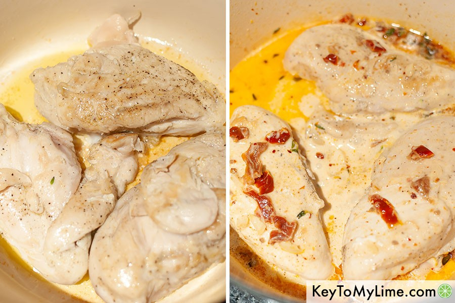 A process collage showing chicken breast seared and then coated in creamy sauce.