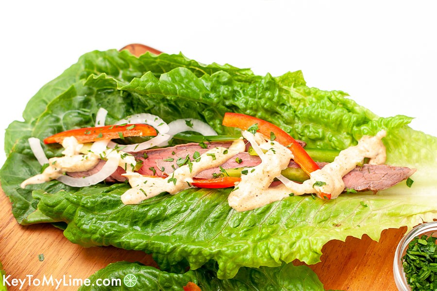 A close up image of a Creole-inspired steak lettuce cup.
