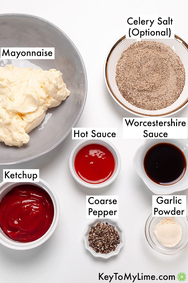The ingredients for Cane's sauce in individual containers and labeled.