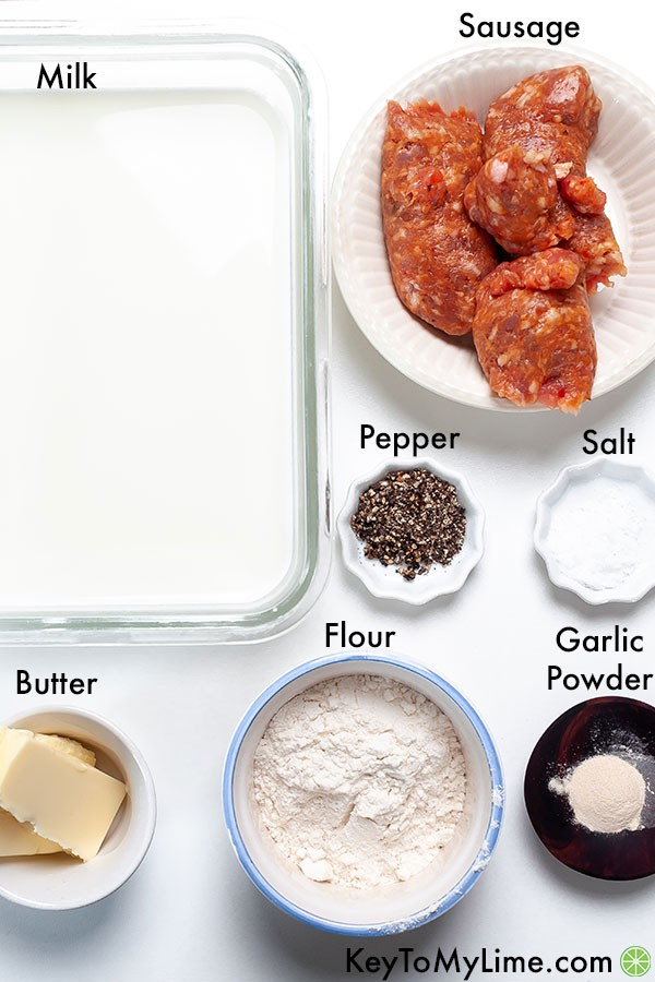 The ingredients for sausage gravy in individual labeled containers.