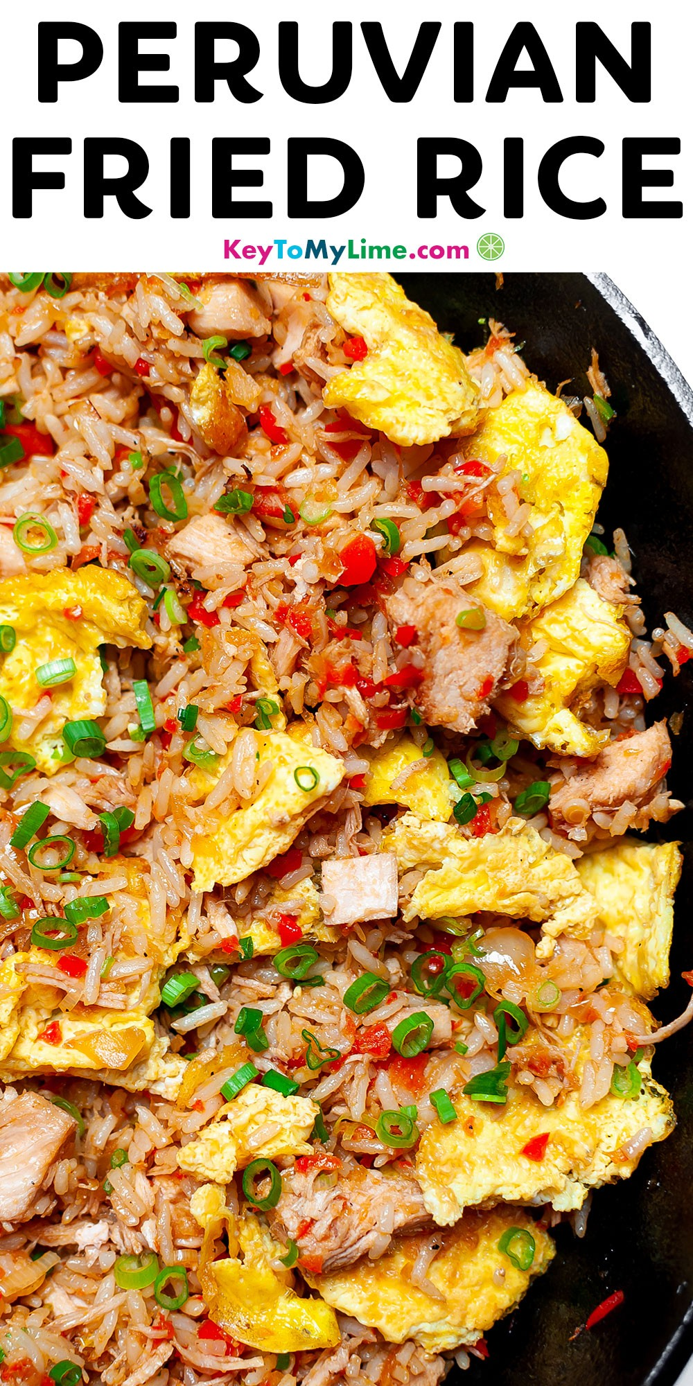 A Pinterest pin image with pictures of fried rice and title text.