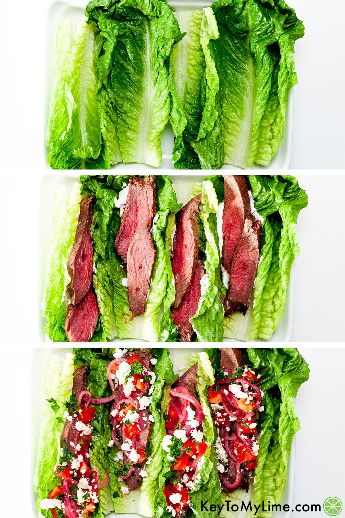 A process collage showing how to double stack the romaine leaves, add the sliced steak, then add the other toppings.