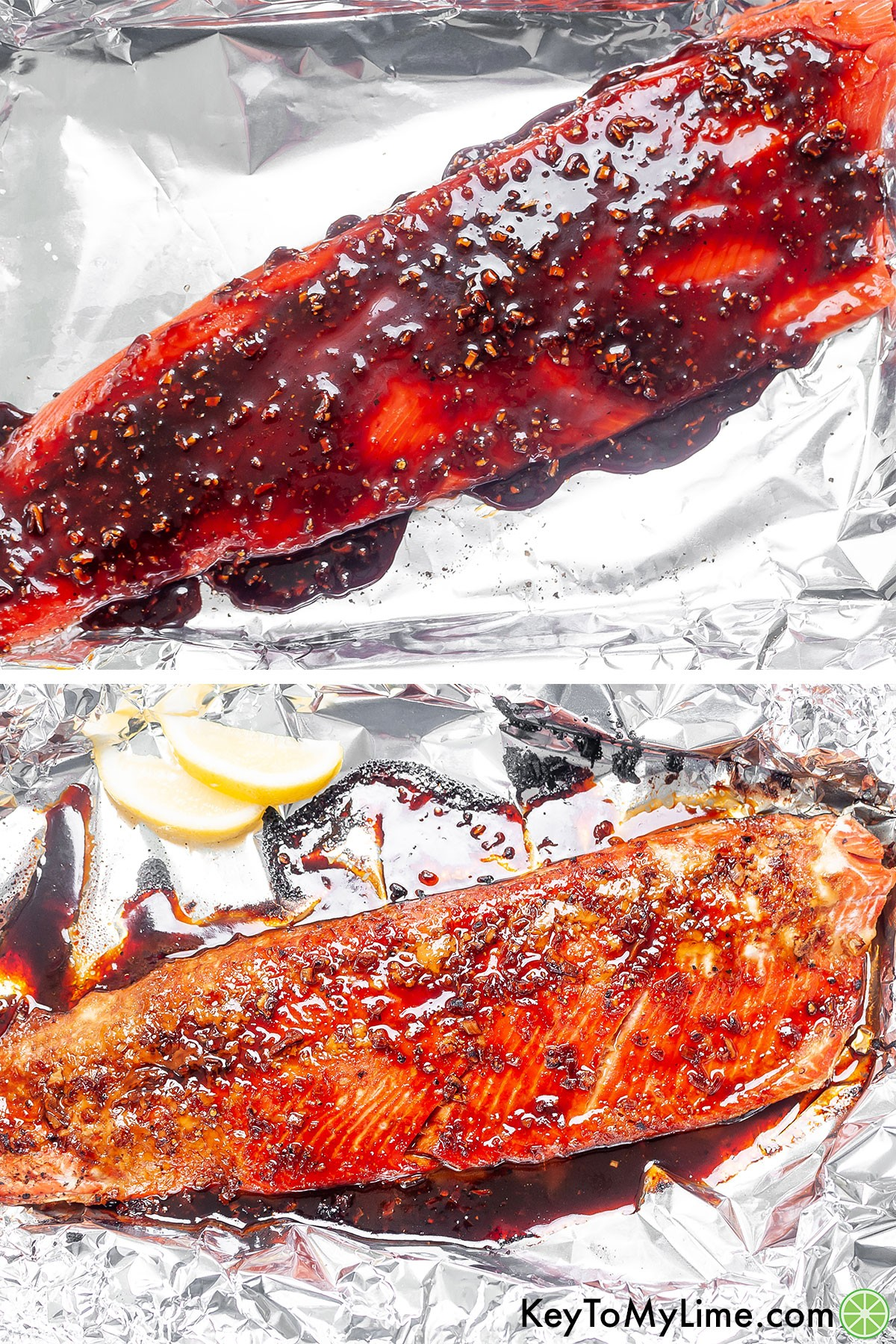 A process collage showing glazed salmon before and after baking.