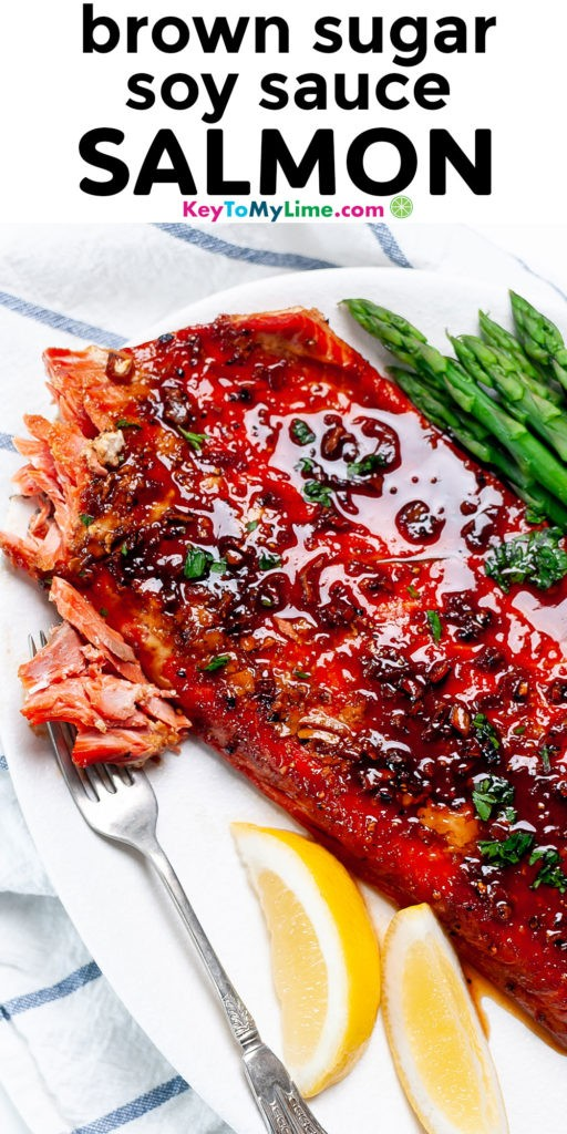 A Pinterest pin image with a picture of glazed salmon with title text.