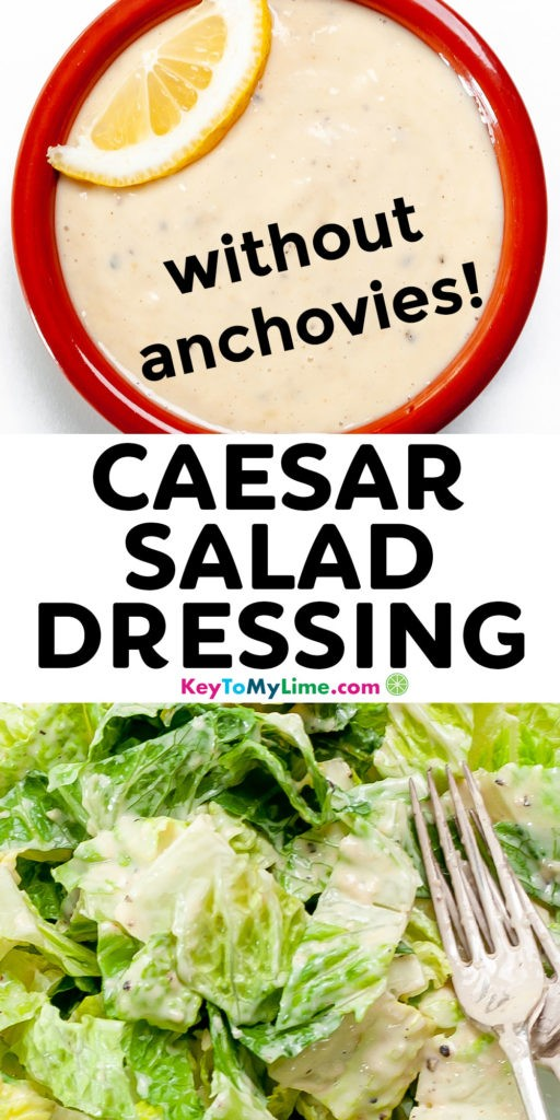 A Pinterest pin image of homemade Caesar dressing and title text.