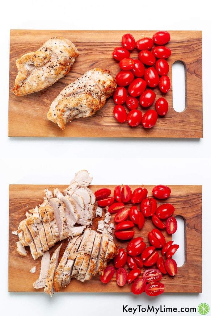 Tomatoes and chicken breast on a cutting board, shown before and after slicing.