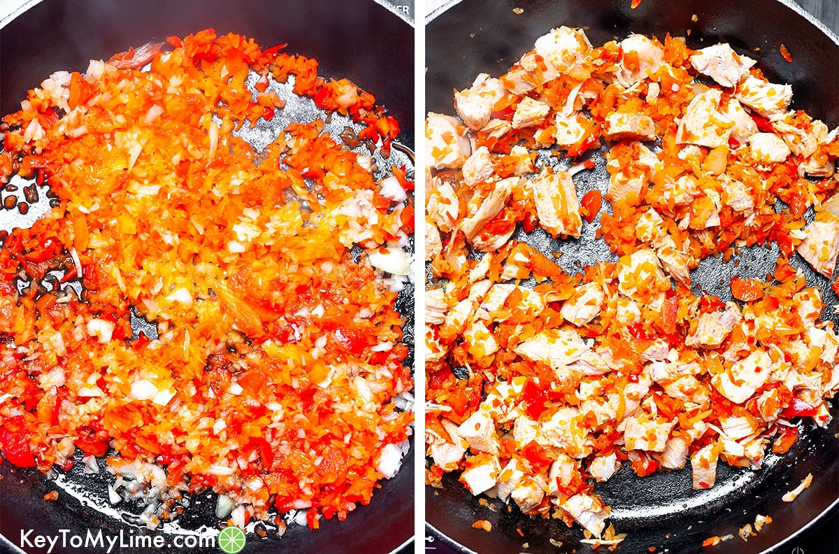 A process collage showing bell peppers and onions cooking, then chicken being added in.