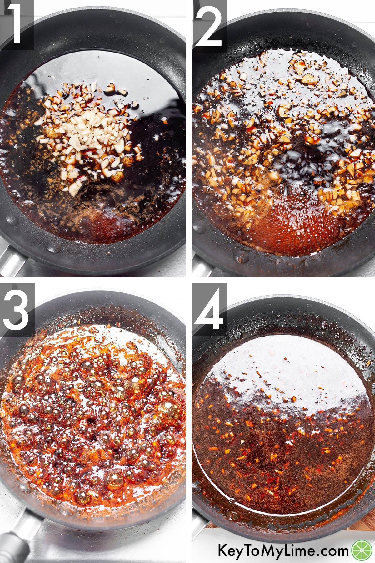 A process collage showing how the glaze bubbles a lot while it's cooking so that it's thick enough to stay on the salmon.