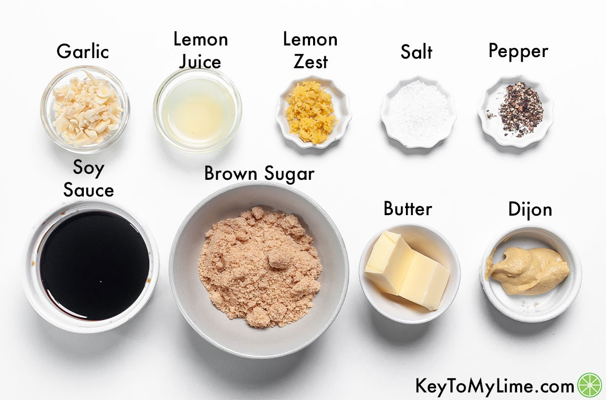 The labeled ingredients for brown sugar soy sauce glaze.