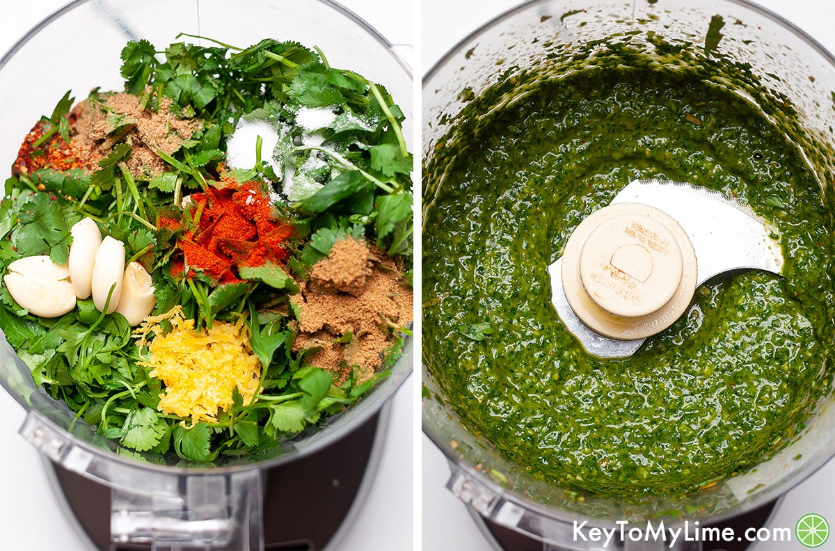A process collage showing chermoula in a food processor before and after blending.