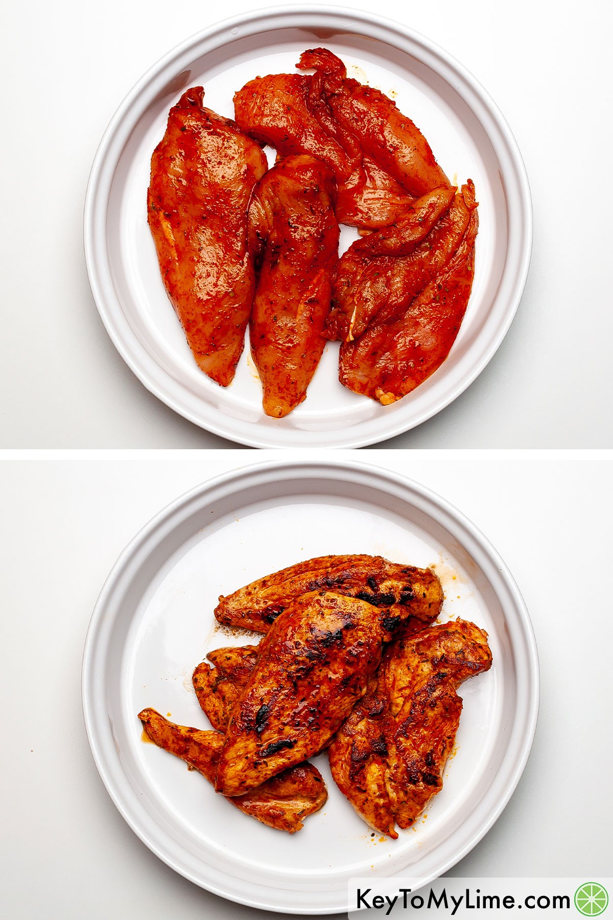 A process photo showing Cajun chicken before and after cooking.