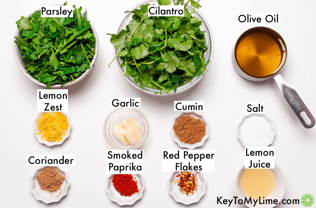 The labeled ingredients for chermoula.