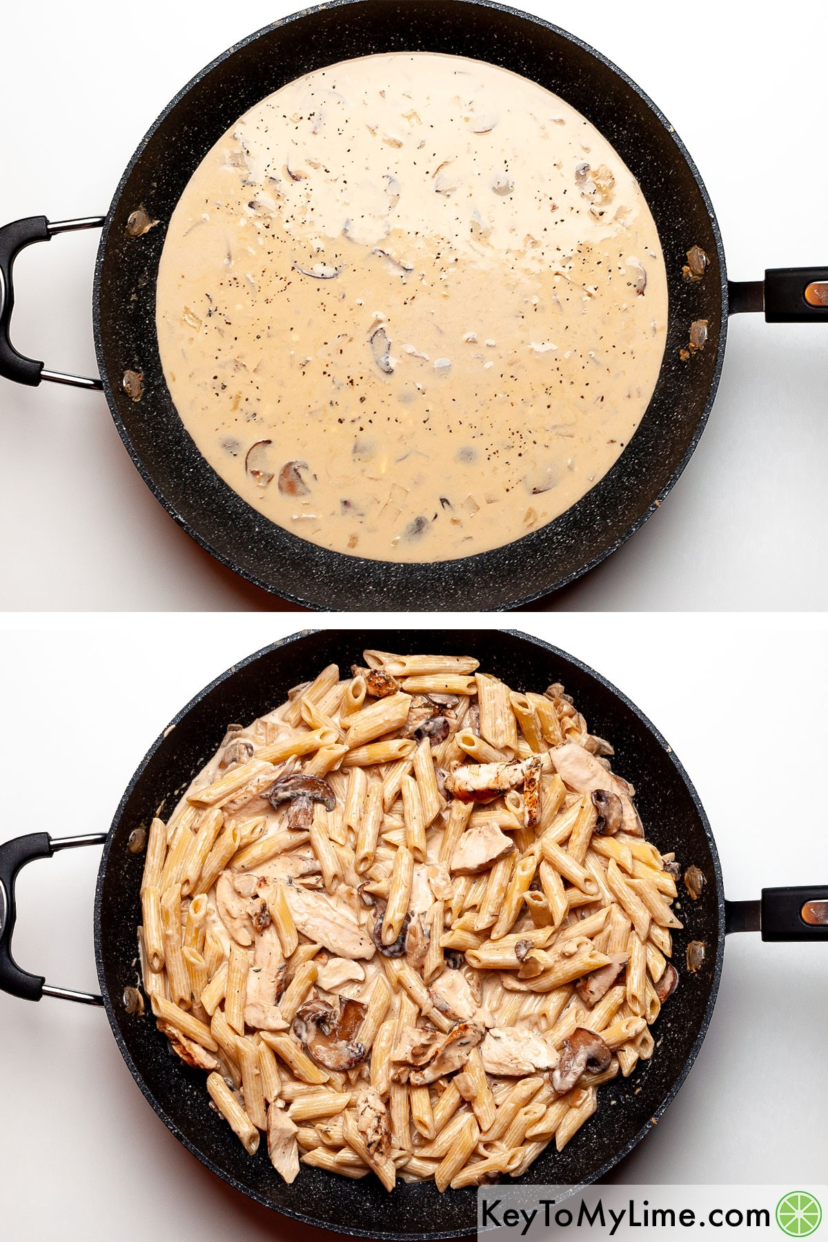 A process photo of making creamy mushroom pasta sauce and then tossing penne pasta in it.