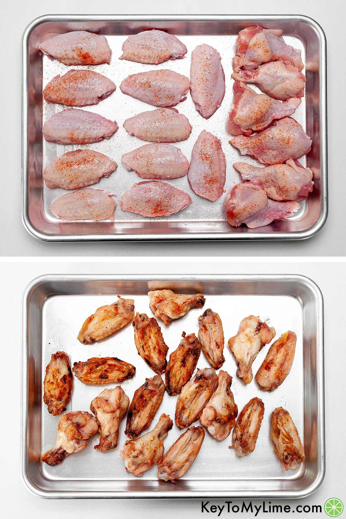 Chicken wings before and after grilling.