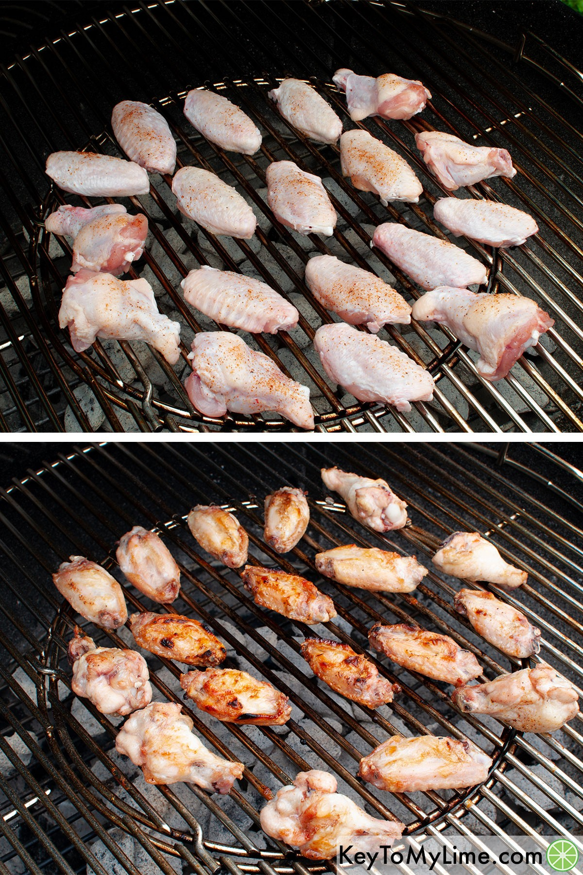 Chicken wings on grill before and after cooking.