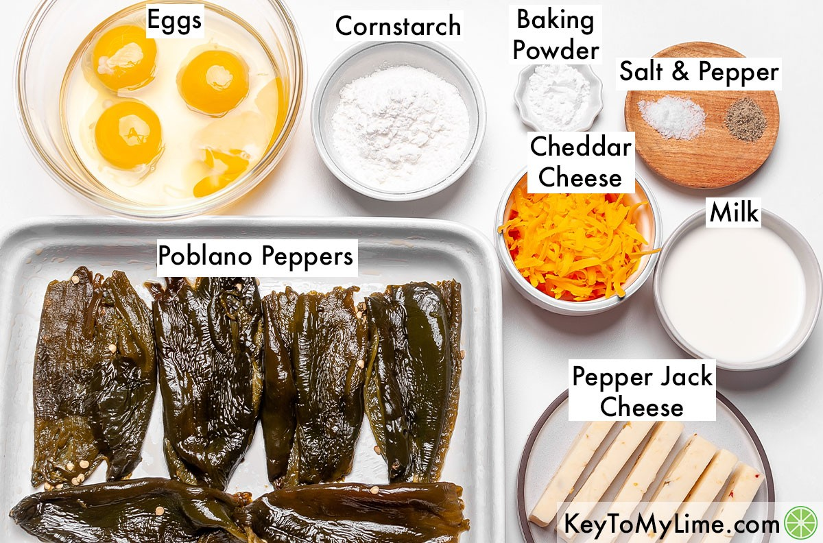 The labeled ingredients for chile relleno casserole on a table.