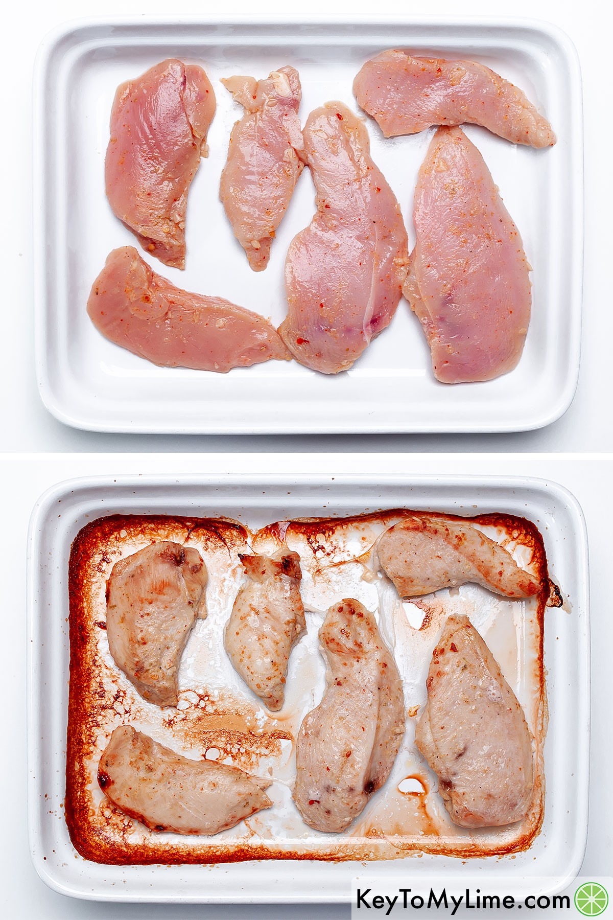 A process collage showing chili lime chicken before and after baking it.