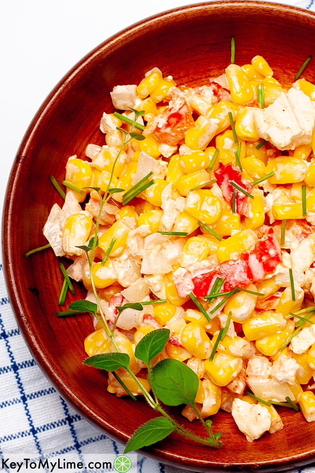 A close up image of Mexican street corn salad.