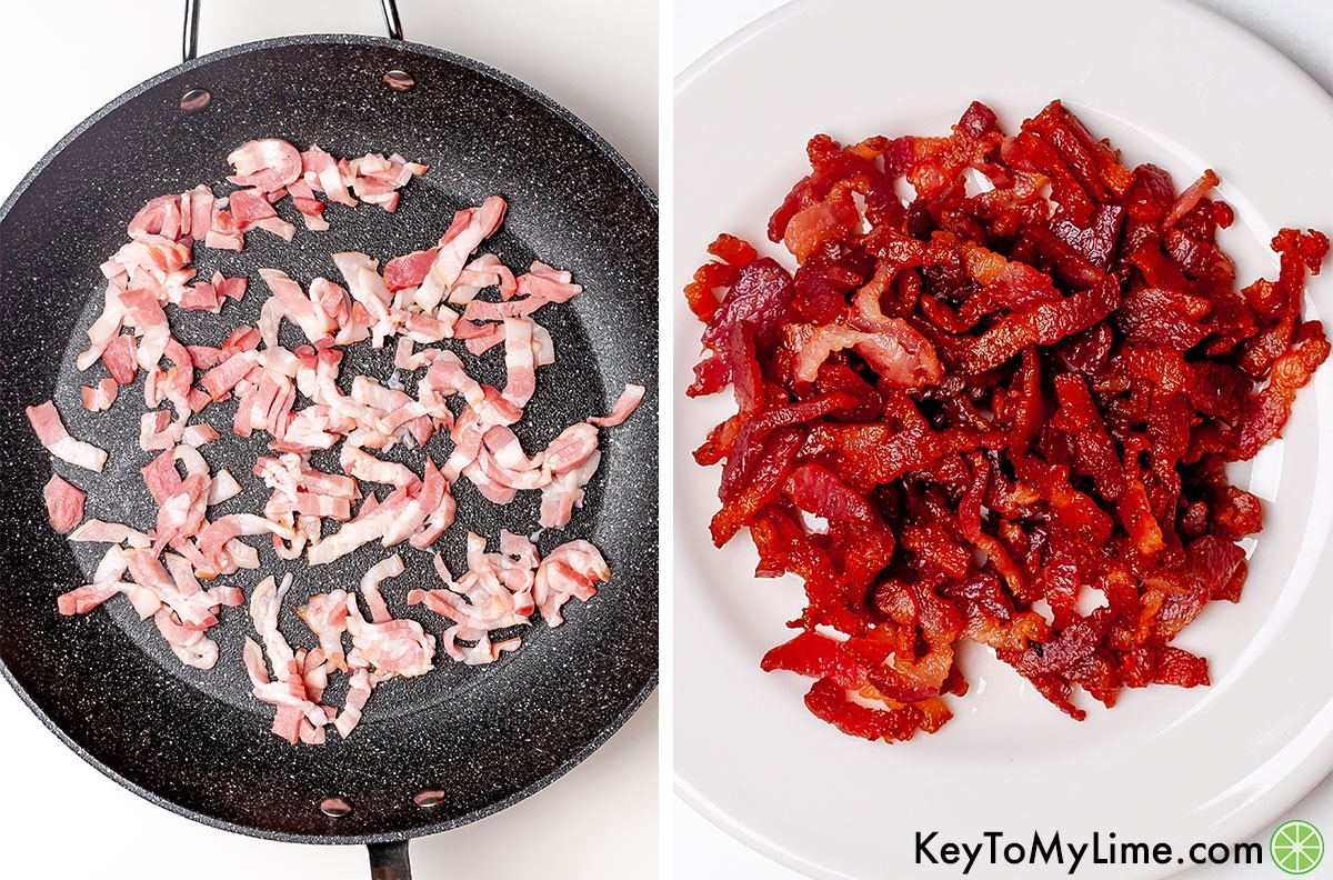 A process collage showing sliced bacon before and after cooking it.