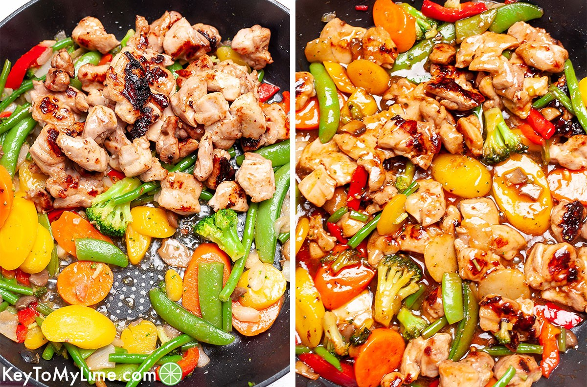 Chicken stir fry collage showing before and after adding the sticky sauce.