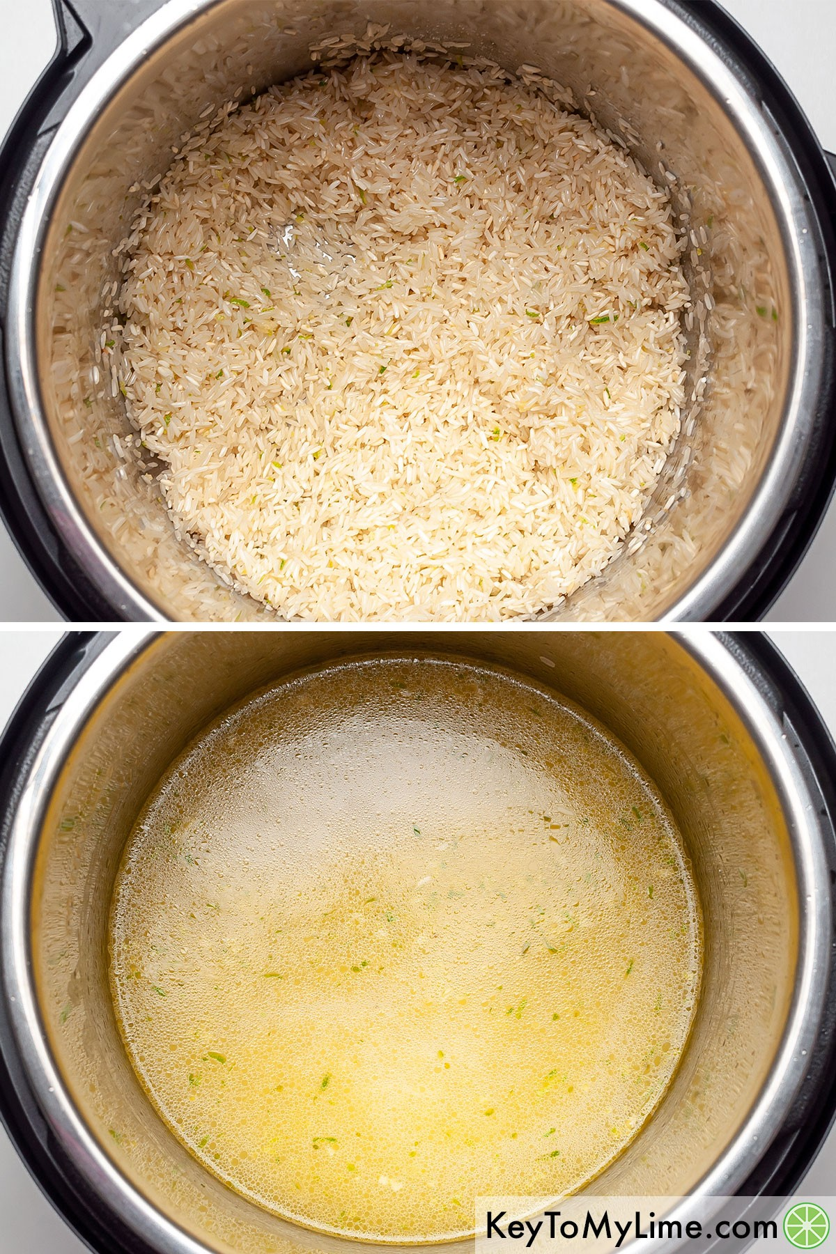 A process collage showing toasting the rice in oil, then adding the liquid to the Instant Pot.