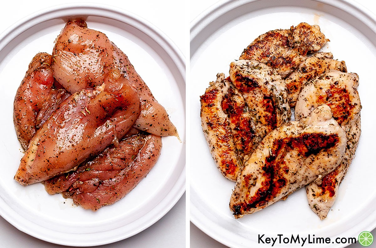 A process collage showing what the Italian seasoned chicken breast looks like before and after cooking.