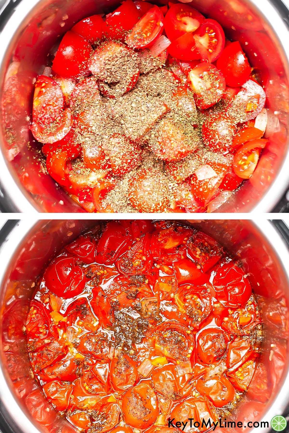 A process collage showing tomatoes with herbs before and after cooking in the Instant Pot.
