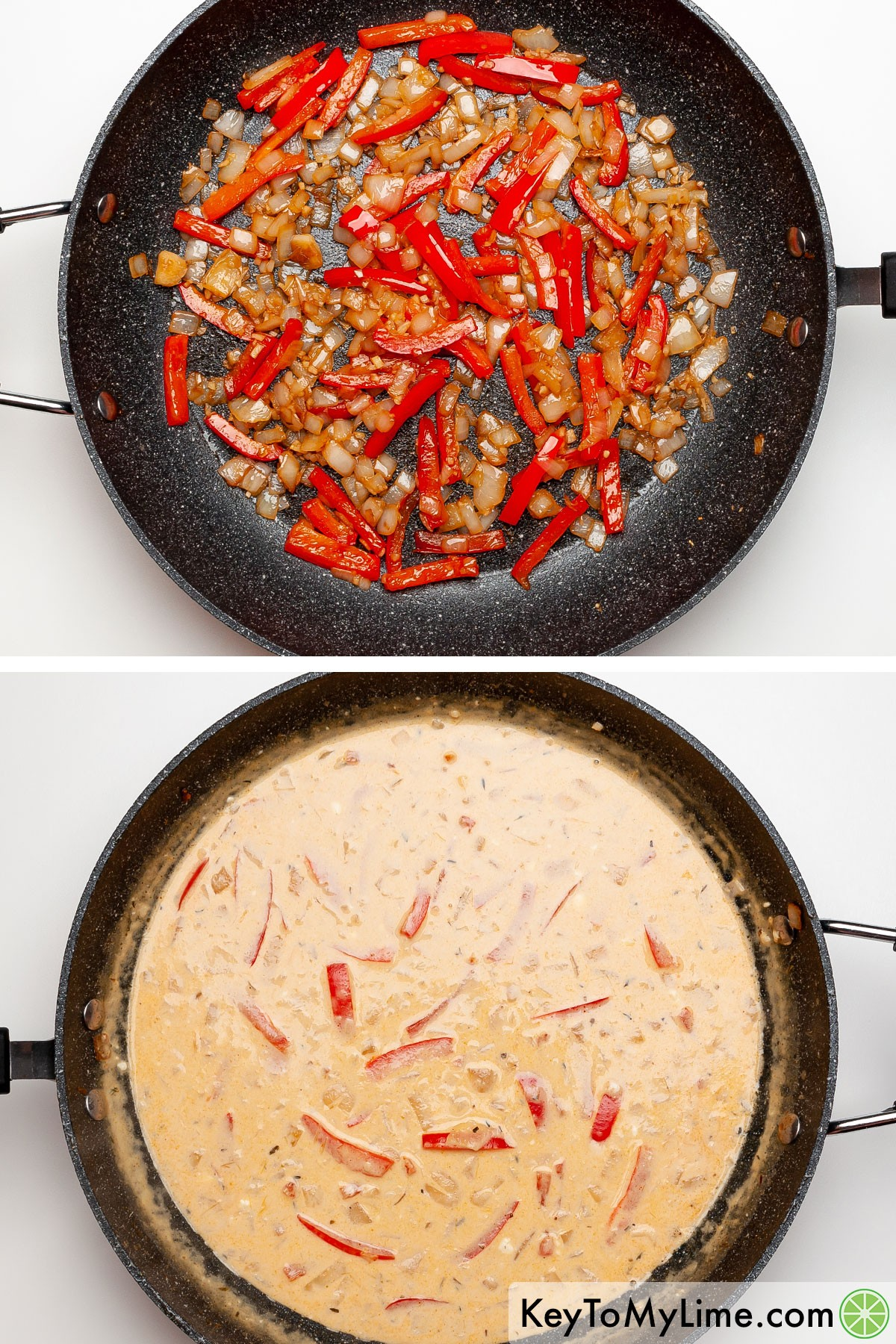 A process collage showing how to make creamy Cajun pasta sauce.