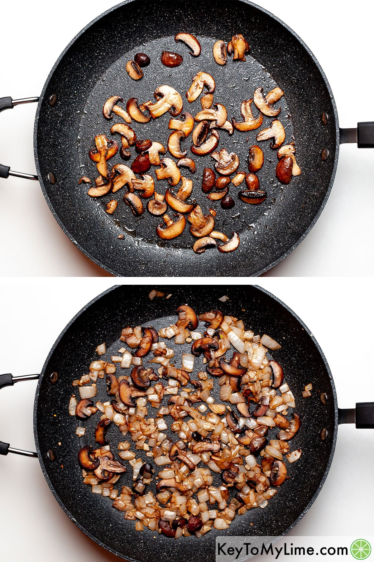 A process photo showing browning mushrooms and then sautéing mushrooms.