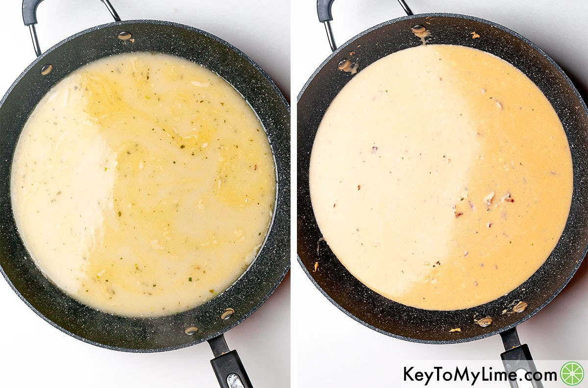 A process collage showing what the creamy ranch pasta sauce looks like as it cooks.