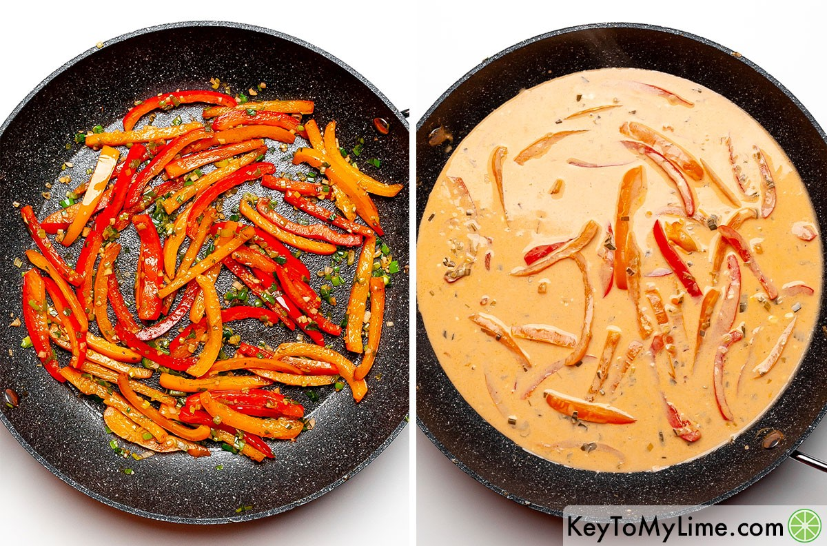 A process collage showing how to saute the vegetables and then add the cheese and liquids to make the sauce.