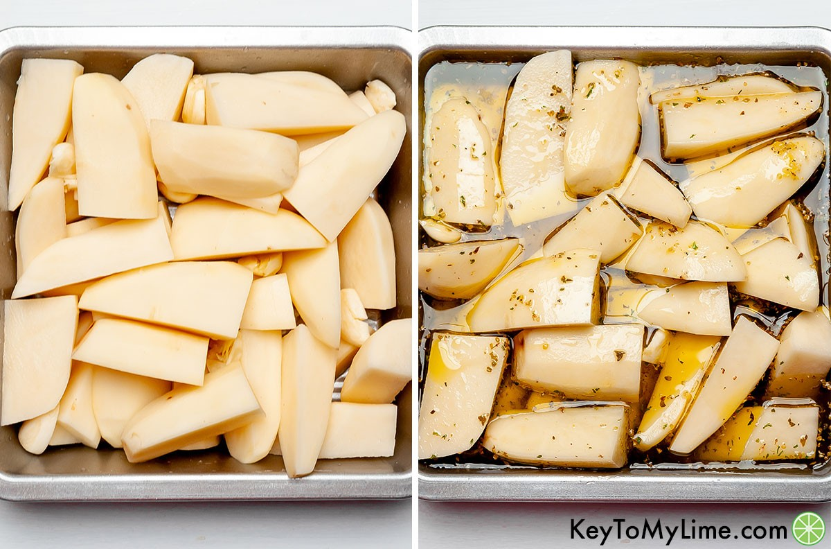 A process collage showing potato wedges in a baking dish before and after adding the lemon juice, chicken broth, olive oil, and spices.