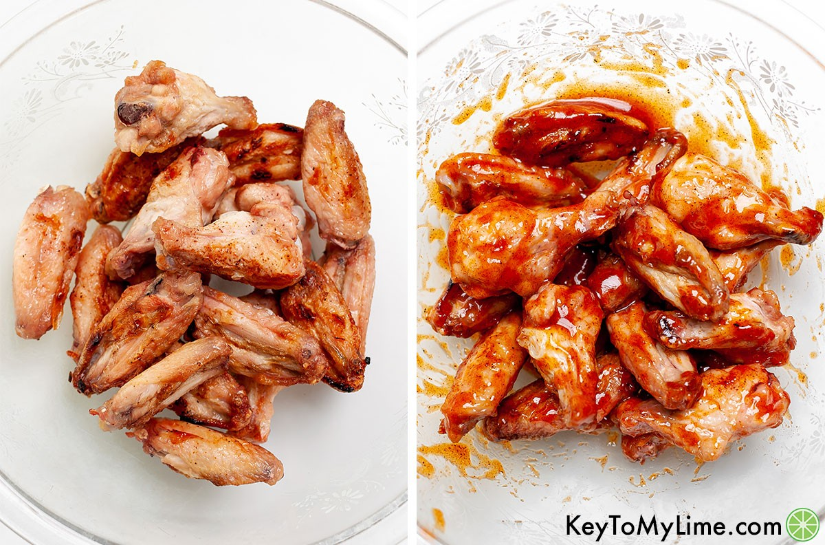 Grilled chicken wings before and after adding sticky glaze.
