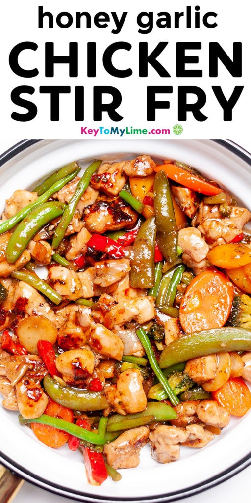 A Pinterest pin image showing a picture of honey garlic chicken stir fry with title text.