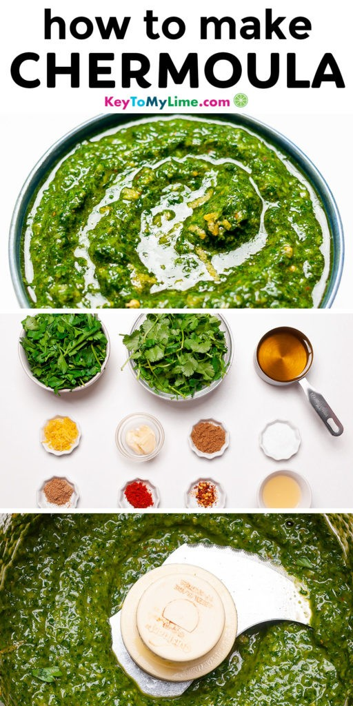 A Pinterest pin image with pictures of chermoula and title text.