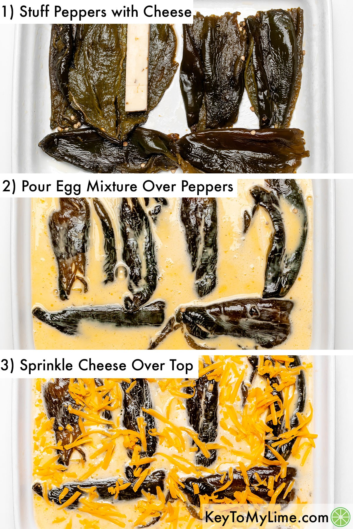 A process collage showing how to layer the casserole (stuffed peppers, then egg mixture, then shredded cheese).
